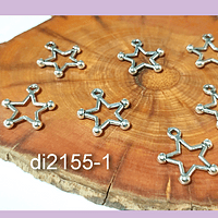 Dije plateado en forma de estrella, 11 x 11 mm, set de 7 unidades