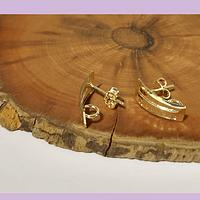 Base de aro baño de oro, 14 x 8 mm, por par