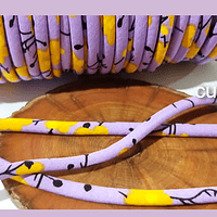 Cordón diseño, color lila con aplicación de flores, 5 mm de ancho por metro