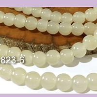Perla de vidrio 8 mm color blanco invierno tira de 53 unidades