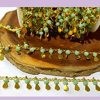 Cadena de acero dorado con aplicación de cristales color jade y gotas, 1,5 x 2mm, por medio metro