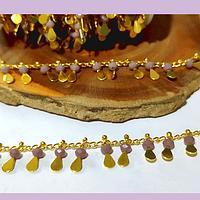 Cadena de acero dorado con aplicación de cristales color rosado y gotas, 1,5 x 2mm, por medio metro