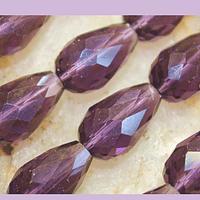 Cristal en forma de gota, color morado, 15 mm por 12 mm, 10 cristales