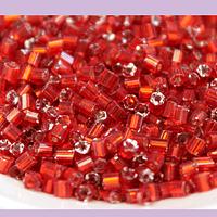 Mini canutillo rojo, 6 x 1,5 mm, set de 25 grs.