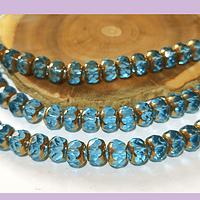 Perla de vidrio color celeste con aplicaciones de cobre, 8 x 6 mm, tira de 45 cuentas aprox