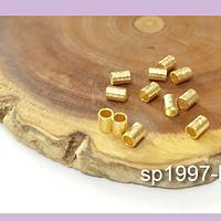 Separador baño de oro rayado 5 x 3 mm, agujero de de 2 mm, set de 1 grs. (11 aprox)