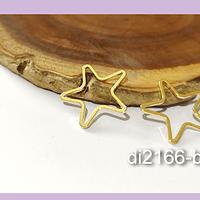 Colgante estrella baño de oro, 17 mm, set de 6 pares (12 unidades)