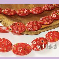 Vidrio murano en forma ovalada, color rojo con flores, 14 x 10 mm, tira de 27 piezas