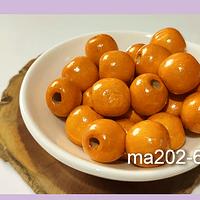 Cuenta de madera color naranjo 14 mm, bolsa de 25 grs. , 30 cuentas aprox.