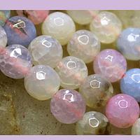 Agatas, Agata facetada de 8 mm, en tonos pasteles , tira de 46 piedras aprox