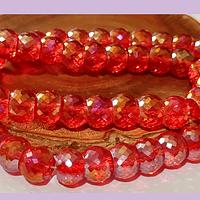Cristal facetado de 10 mm, primera calidad, rojo tornasol, tira de 15 unidades