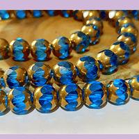 Perla de vidrio color celeste con aplicaciones de cobre, 9 x 8 mm, tira de 32cuentas aprox
