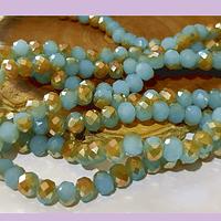 Cristal facetado de 6 mm, color piel con tonalidades celeste y café, tira de 94 cristales aprox.