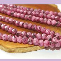 Agatas, Agata rondell facetada rosado jaspeado de 6, tira de 88 piedras aprox