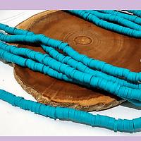 Tira de cuentas de goma, color calipso 4 mm de diámetro, tira de 40 cm de largo aprox
