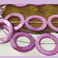 Nacar lila, 30 mm de diámetro, tira de 13 piedras aprox
