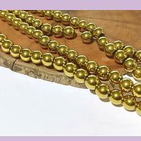 Hematite color dorado fuerte 6 mm, tira de 68 piedras aprox.