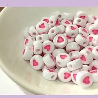 Separador corazones, 6 x 3 mm, agujero de 1 mm, set de 10 grs. (80 letras aprox). San Valentin