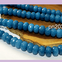 Agatas, Agata facetada RONDELL en color azul, 8 x 5 mm, tira de 70 piedras apro