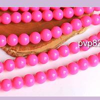 Perla de vidrio pintado 8 mm color rosado tira de 54 unidades