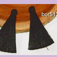 Borlas, Borla de hilo de seda chica , color negro 4,2 cm de largo, set de dos.