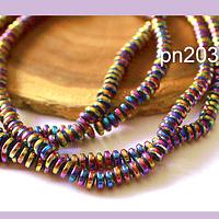 Hematite rondell multicolor, no imantada de 5 x 1,5 mm, tira de 200 piedras aprox.
