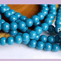 Perla de vidrio pintado 8 mm color azul cobalto tira de 54 unidades