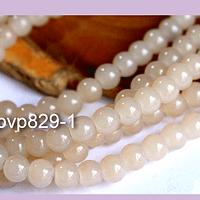 Perla de vidrio claro 6 mm tira de 72 piedras aprox