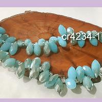 cristal en forma de gota, facetado color celeste retro matizado, 12 mm de largo por 6 mm de ancho, set de 10 unidades
