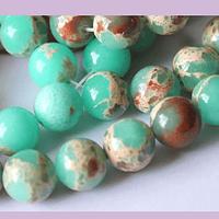 Jaspe aqua verde de 10 mm, tira de 38 piedras
