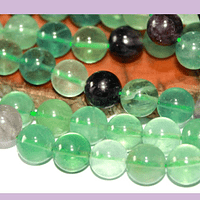 Fluorita de 10 mm, tira de 18 piedras (media tira)