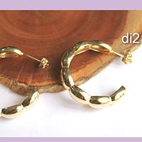 Aro argolla baño de oro, 30 mm de diámetro, por par