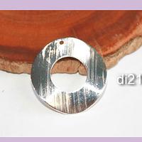 Argolla con orificio superior de baño de plata, con forma irregular, 21 mm de diámetro y 6 mm de ancho, por unidad