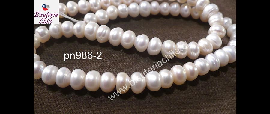 Perla de río rondell 7 mm, tira de 68 perlas aprox.