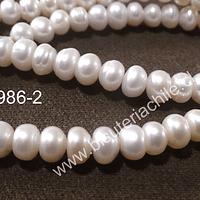 Perla de río rondell 7 mm, tira de 70 perlas aprox.