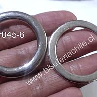 Argollas plateadas, 38 mm de diámetro, set de 2 unidades