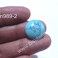 Turquesa especial para base cambuchon, de 18 mm de diámetro, por unidad