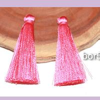 Borla de hilo de seda chica , color rosa fuerte 4,2 cm de largo, set de dos.