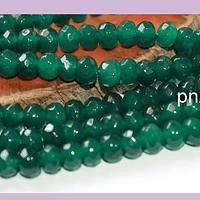 Agatas, Agata RONDELL facetada verde de 6, tira de 88 piedras aprox.