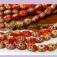 Vidrio murano color rojo con flores, 9 x 6 mm, agujero de 1 mm, tira de 35 unidades aprox