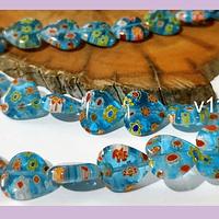 Vidrio murano en forma de corazón color celeste con flores, 12 x 12 mm, tira de 32 piezas aprox