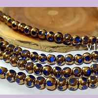 Perla de vidrio color azul con aplicaciones de cobre, 6 mm, tira de 50 cuentas aprox.
