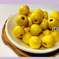 Cuenta de madera color amarillo 14 mm, bolsa de 25 grs. , 30 cuentas aprox