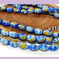 Vidrio murano color azul con flores, 9 x 6 mm, agujero de 1 mm, tira de 35 unidades aprox.
