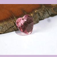 Cristal austriaco en forma de corazón rosado, 10 x 10 mm, por unidad, san valentin