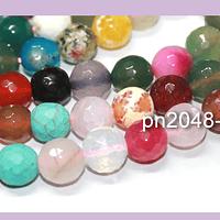 Agatas, Agata de 10 mm en en tono mix, tira de 38 piedras aprox
