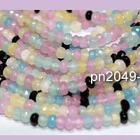 Agatas, Agata rondell color color pastel mix de 4 mm, tira de 130 piedras aprox
