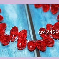 cristal en forma de gota, facetado color rojol, 12 mm de largo por 6 mm de ancho, set de 10 unidades