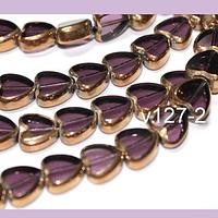 Perla de vidrio y cobre corazón color lila, 9 x 10  mm de diámetro, tira de 30 perlas aprox