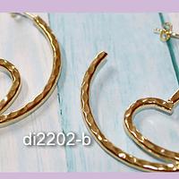 Aro Terminado baño de oro corazón, 50 mm de diámetro, por par, san valentin